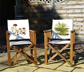 Ceps and spleenwort printed canvas backed folding chair