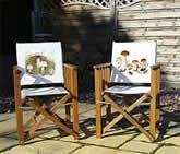 Folding wooden chairs with botanical wild mushroom print on back panel from watercolour painting by Peter Thwaites