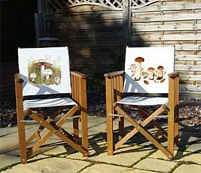 Director's chairs printed with mushroom images from watercolour paintings by Peter Thwaites