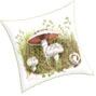 cushion printed from watercolour painting of wild field mushrooms